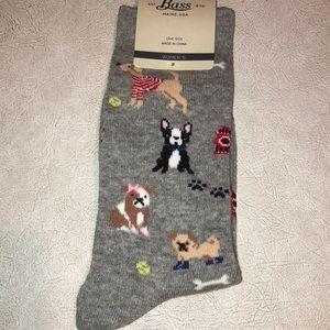 Bass grey socks with dogs NWT